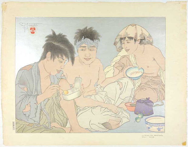 Le Repas des Mendiants, Seoul, Coree (The Beggar's Meal, Seoul, Korea) by Paul Jacoulet - Davidson Galleries