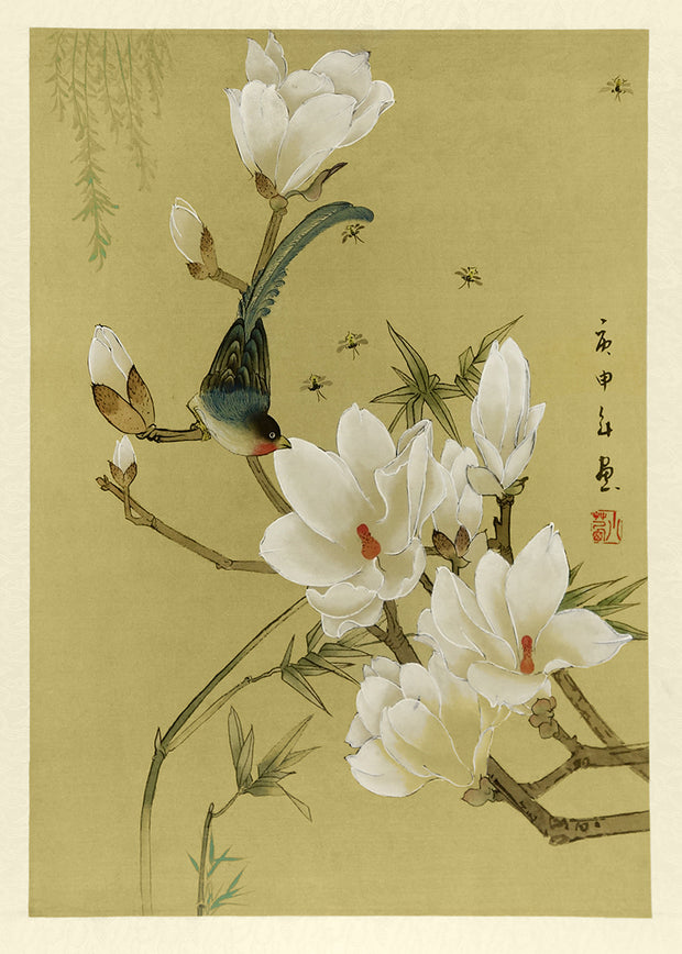 Blue Bird and Bugs with White Blossom by Artist Unidentified - Davidson Galleries