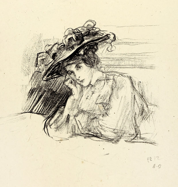 Berthe Portant un Grand Chapeau by Albert de Belleroche - Davidson Galleries