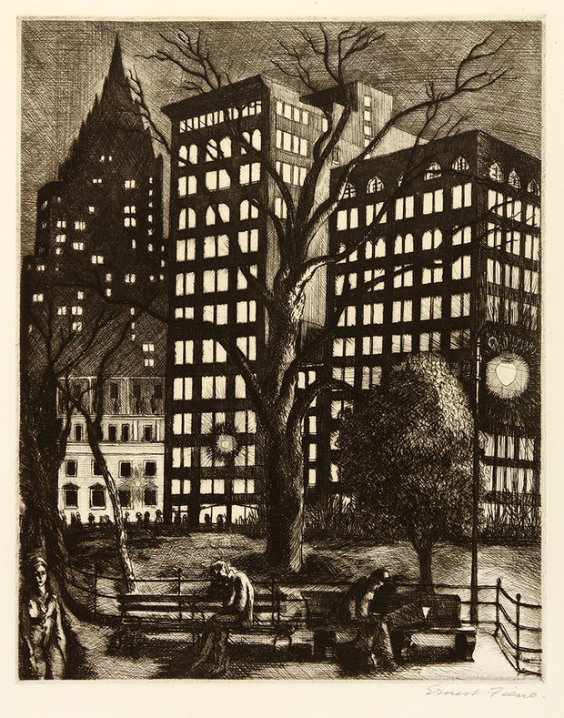 City Lights (Madison Square Park, NY) by Ernest Fiene - Davidson Galleries