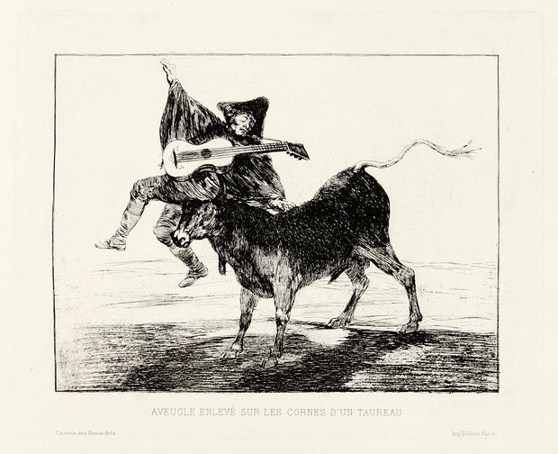 Aveugle Enlevé sur les Cornes d'un Taureau (Blind Man Tossed on the Horns of a Bull) by Francisco Goya - Davidson Galleries