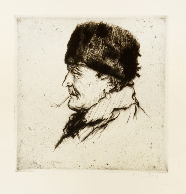 Head of an Old Volendam Sailor with Fur Hat by Joseph Gray - Davidson Galleries