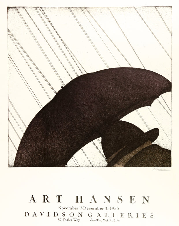 Art Hansen Man in Rain Poster by Art Hansen - Davidson Galleries