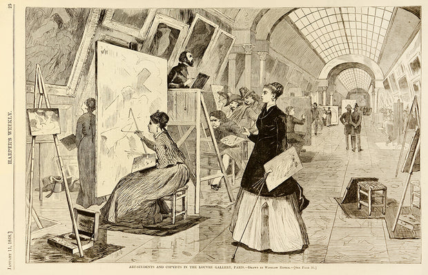 Art Students and Copyists in the Louvre Gallery, Paris by Winslow Homer - Davidson Galleries