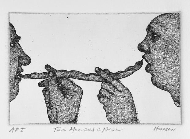 Two Men and a Bean by Art Hansen - Davidson Galleries