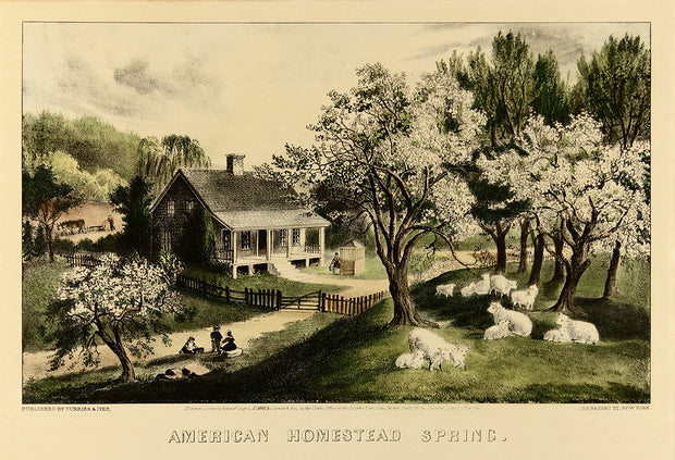 American Homestead Spring by Currier & Ives - Davidson Galleries