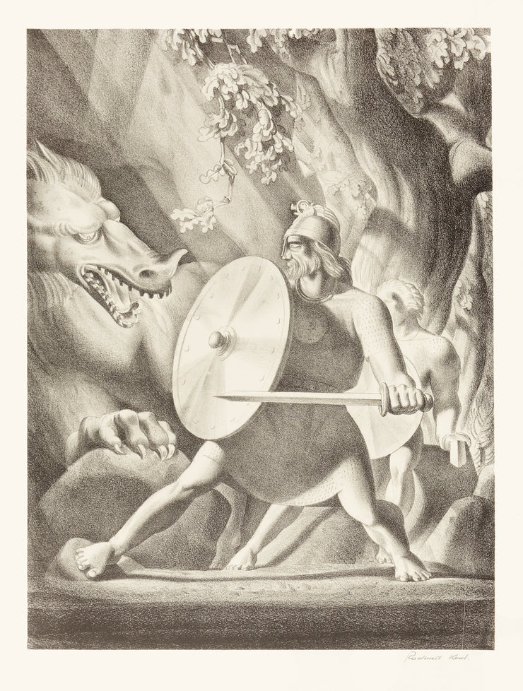 Beowulf and the Dragon by Rockwell Kent - Davidson Galleries