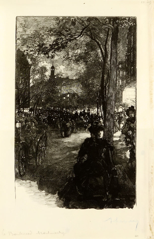 Le Boulevard Montmartre (at Night) by Auguste-Louis Lepère - Davidson Galleries
