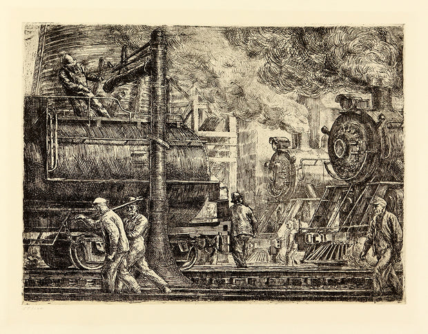 Erie R.R. Locos Watering, 1934 by Reginald Marsh - Davidson Galleries