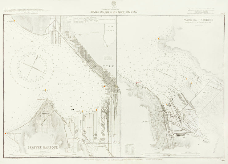 Seattle Harbour and Tacoma Harbour by Maps, Views, and Charts - Davidson Galleries