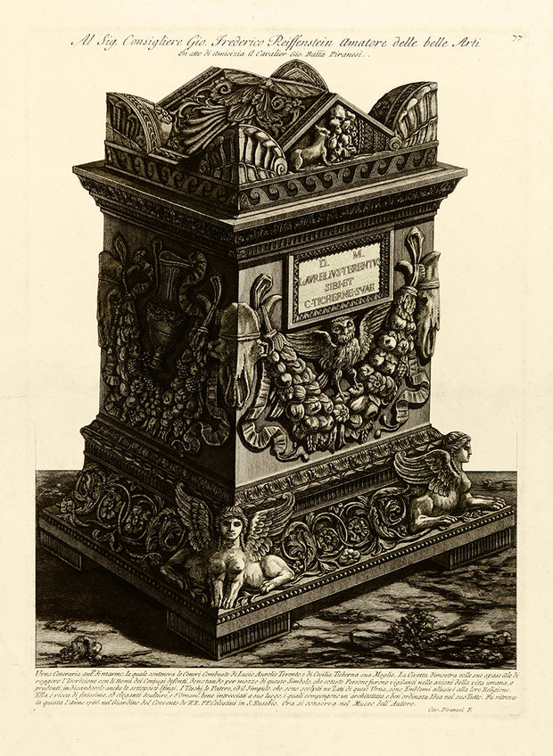 Funerary Urn of Lucius Aurelius Terentus and His Wife Cecilia Ticherna by Giovanni Battista Piranesi - Davidson Galleries