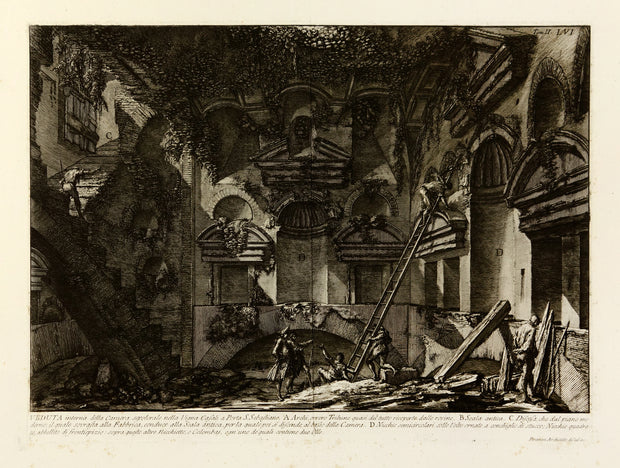 Veduta interna della Camera sepolcrale esistente nella Vigna Casali a Porta S. Sebastiano (Interior View of the Tomb Chamber in the Casali Vineyards at Porta San Sebastiano) by Giovanni Battista Piranesi - Davidson Galleries