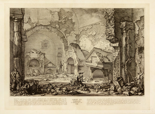 Veduta dell' Ingresso della Camera Sepolcrale di L. Arrunzio d della sua Famiglia (View of the Entrance to the Tomb Chamber of L. Arruntius and His Household) by Giovanni Battista Piranesi - Davidson Galleries