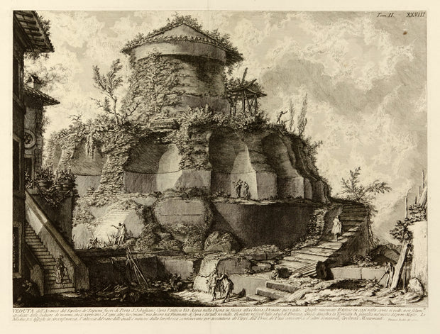 Veduta di un Sepolcro creduto de'Scipioni fuori di Porta S. Sebastiano (View of the Tomb Believed to Be That of the Scipios outside Porta San Sebastiano) by Giovanni Battista Piranesi - Davidson Galleries