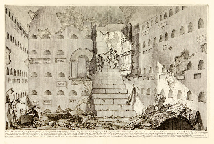 Camera Sepolcrali pochi passi distante da quella gia descritta della Famiglia L. Arrunzio… (A Tomb Chamber in the Same Vineyard near That of the Family of L. Arruntius…) by Giovanni Battista Piranesi - Davidson Galleries