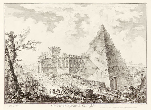 Veduta del Sepolcro di Cajo Cestio (The Pyramid of Caius Cestius, with the Porta S. Paolo and Adjoining Road) by Giovanni Battista Piranesi - Davidson Galleries