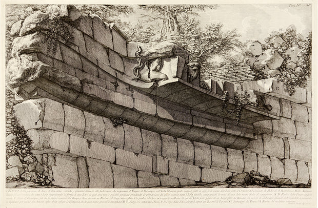 Veduta della porzione di Nave di Traverini costruita...(View of Part of the Ship of Travertine Constructed and Inserted in Front of the Substructures Which Supported the Temple of Aesculapius on the Tiber Island) by Giovanni Battista Piranesi - Davidson Galleries