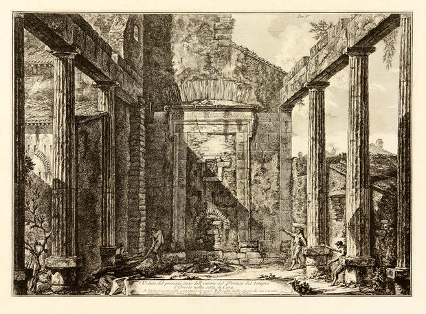 Veduta del presente stato dell'interno del Pronao del Tempio d' Ercole nella citta di Cora (View of the Present State of the Interior of the Pronaos of the Temple of Hercules in the City of Cori) by Giovanni Battista Piranesi - Davidson Galleries