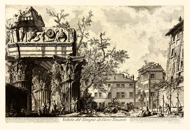 Veduta del Tempio di Giove Tonante (View of the Temple of Jupiter Tonans) by Giovanni Battista Piranesi - Davidson Galleries