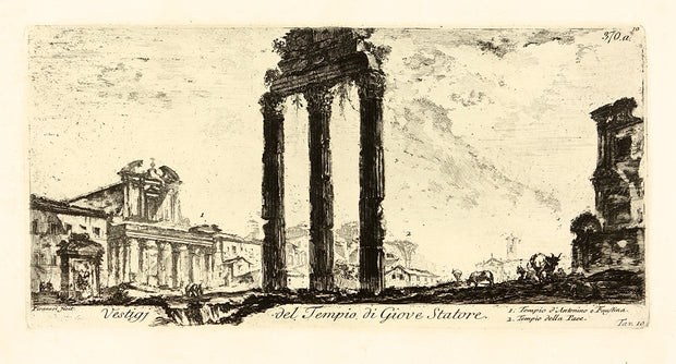 Vestigi del Tempio di Giove Statore (Ruins of the Temple of Jupiter Stator 1. Temple of Antonius and Faustina 2. Temple of Peace) by Giovanni Battista Piranesi - Davidson Galleries