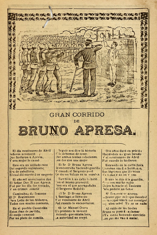 "Broadside ""Gran Corrido de Bruno Apresa"" by José Guadalupe Posada - Davidson Galleries"