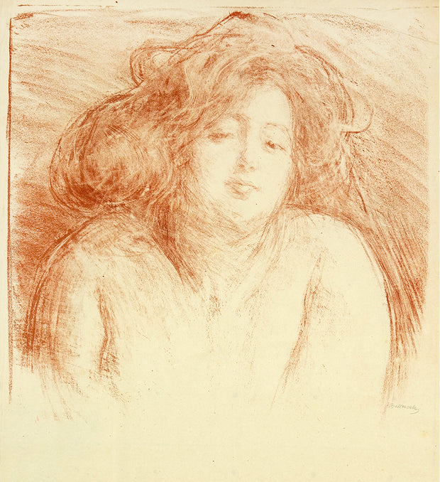 Lili, desabandon, Beatitude, Femme au Cheveux Defaits (Lili, a woman blissfully relaxed, her hair disheveled) by Albert de Belleroche - Davidson Galleries