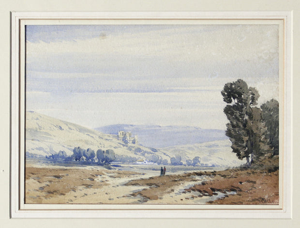 Two Figures Viewing Landscape by John Callow, O.W. - Davidson Galleries