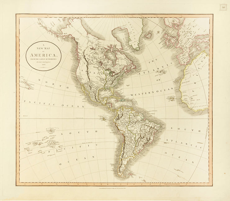 A New Map Of America by Maps, Views, and Charts - Davidson Galleries