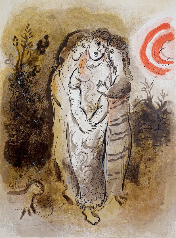 Noémi et Ses Belles-Filles (Naomi and Her Daughters-In-Law) by Marc Chagall - Davidson Galleries