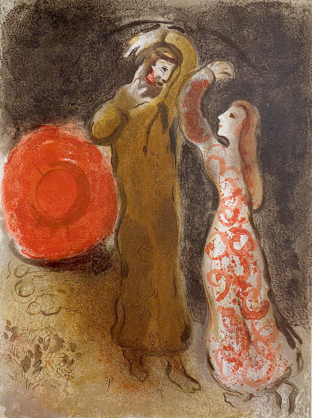 Rencontre de Ruth et de Booz (The Meeting of Ruth and Boaz) by Marc Chagall - Davidson Galleries
