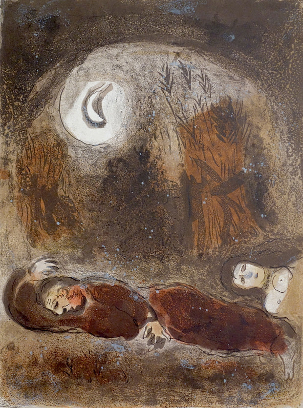 Ruth aux Pieds de Boaz (Ruth at the Feet of Boaz) by Marc Chagall - Davidson Galleries