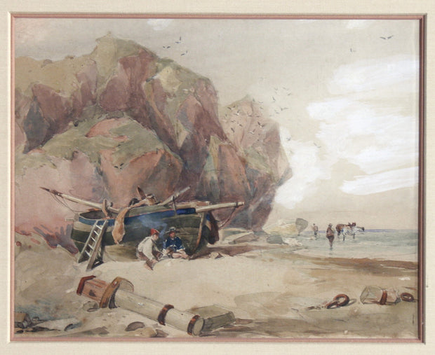 Resting by a Boat on the Beach by David Cox - Davidson Galleries