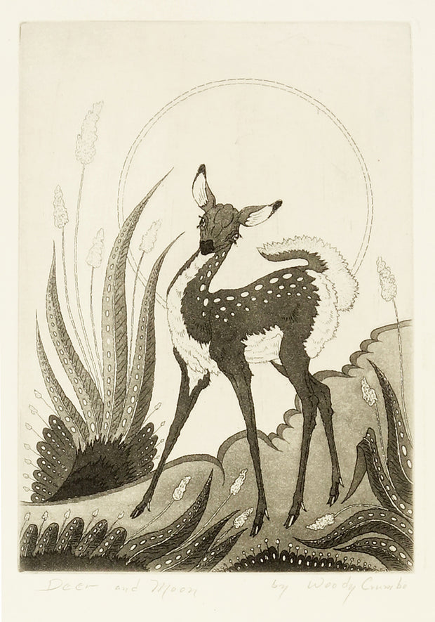 Deer and Moon by Woody Crumbo - Davidson Galleries