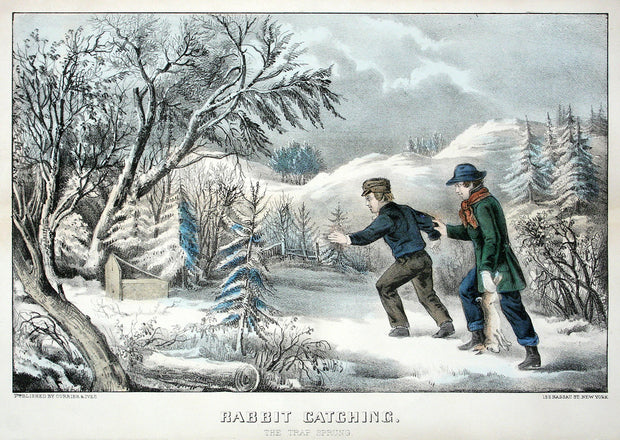 Rabbit Catching, Trap Sprung by Currier & Ives - Davidson Galleries