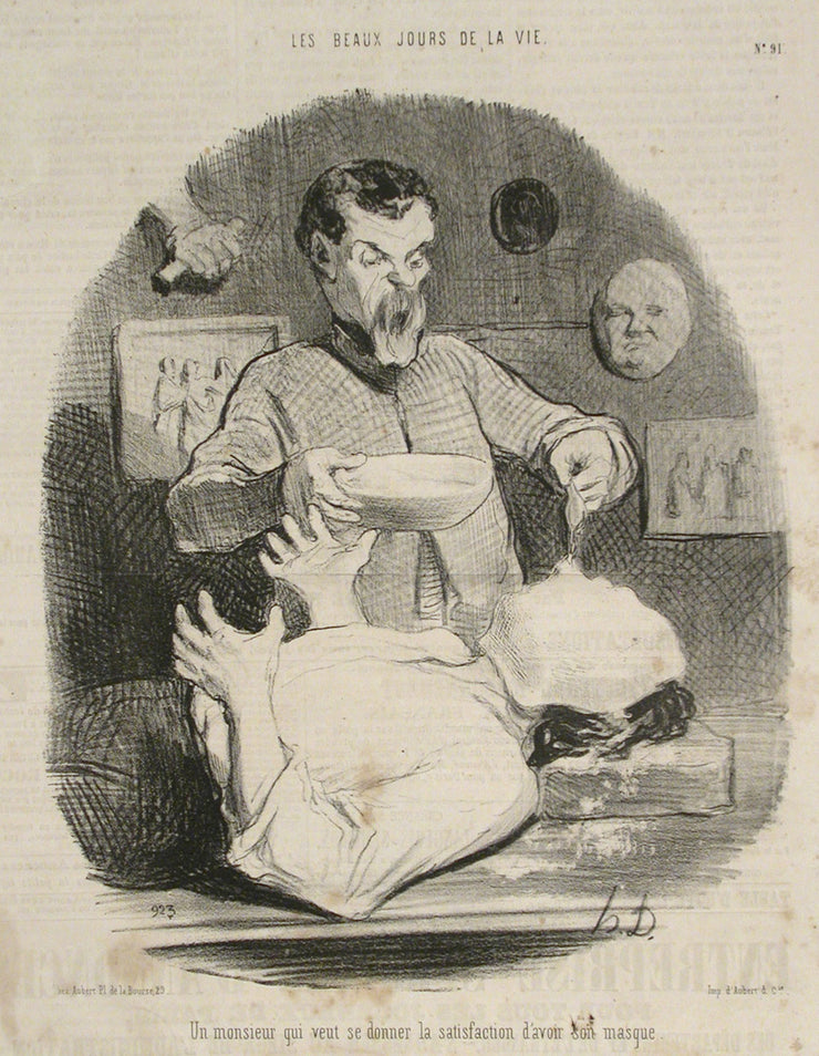 Un monsieur qui veut se donner la satisfaction d'avoir son masque by Honoré Daumier - Davidson Galleries
