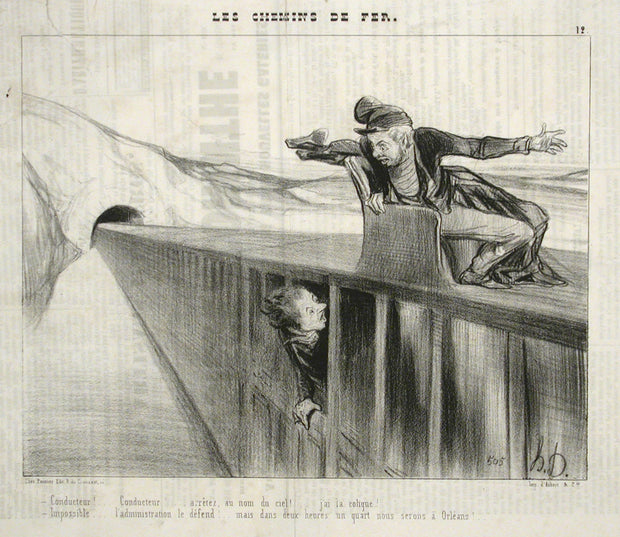 Conducteur!...Conducteur!...arretez, au nom de ciel! (Conductor!...Conductor!...stop in the name of God!...I am sick!) by Honoré Daumier - Davidson Galleries