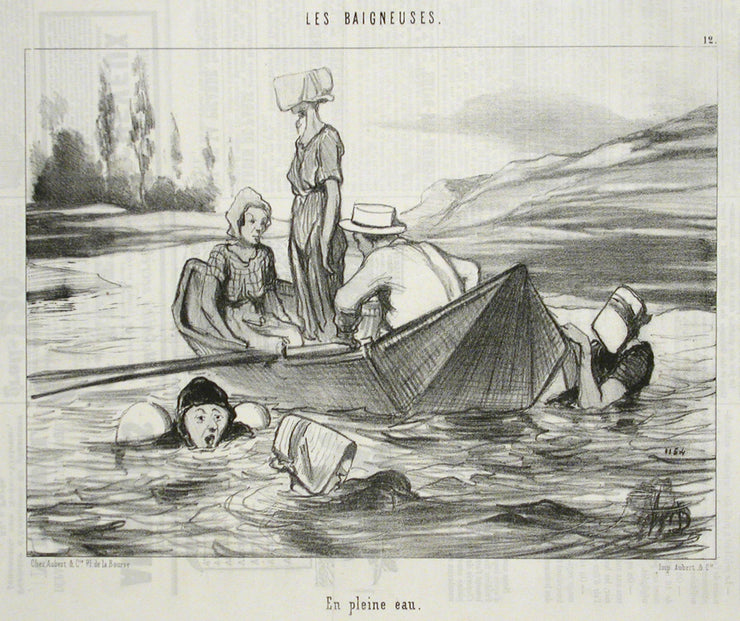 En pleine eau (In open water) by Honoré Daumier - Davidson Galleries