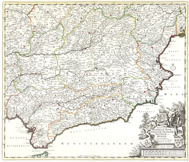 Regnorum Castellae, Novae, Andalujsae, Granadae, Valentae, et Murciae Accurata Tabula, in Episcopatus (Map of Southern Spain) by Maps, Views, and Charts - Davidson Galleries