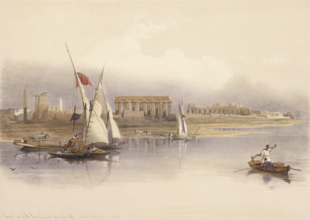 General View of the Ruins of Luxor from the Nile by David Roberts - Davidson Galleries