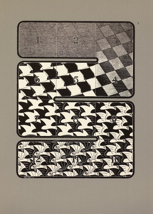 Regular Division of the Plane I (Black Series) by M. C. Escher - Davidson Galleries