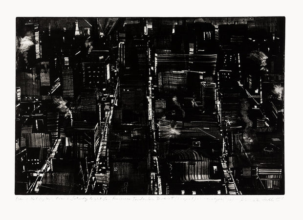 From A Helicopter, Over A Saturday Night San Francisco Tenderloin District (Imagined) by Kevin Fletcher - Davidson Galleries
