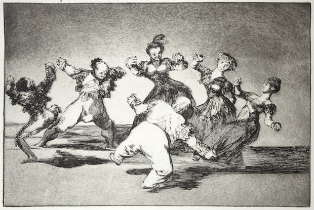 Plate 12. Si Marina Baylo, Tome Lo Que Hallo (If Marion Will Dance, Then She Has To Take The Consequences) by Francisco Goya - Davidson Galleries