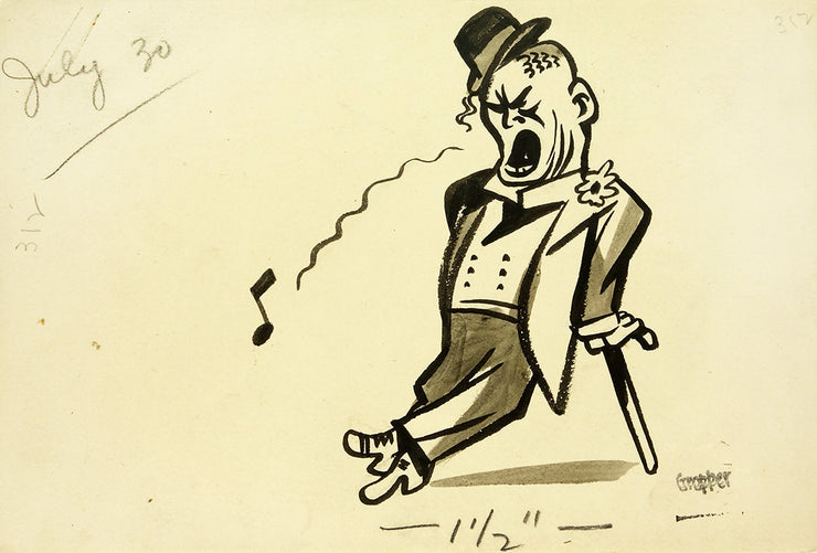 Man Singing Leaning on Cane by William Gropper - Davidson Galleries