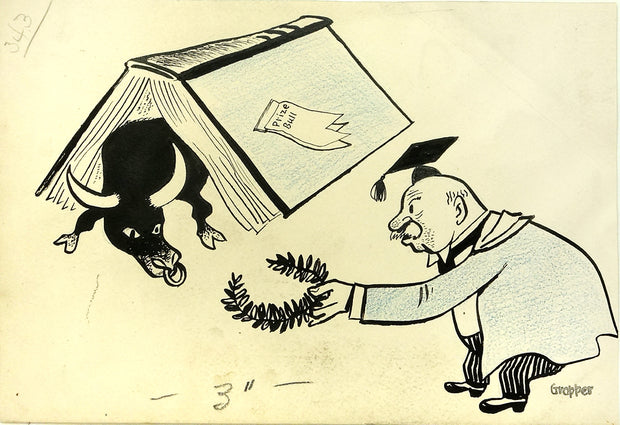 "Laurel Wreath offered emerging from the overturned book titled ""Prize Bull"" by William Gropper - Davidson Galleries"