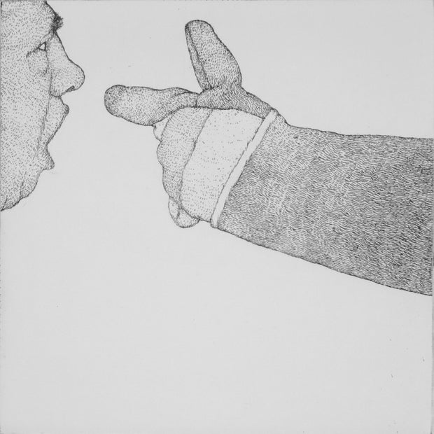 A Man Threatened by a Work Glove by Art Hansen - Davidson Galleries