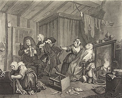 Plate 5. The Death of the Harlot by William Hogarth - Davidson Galleries