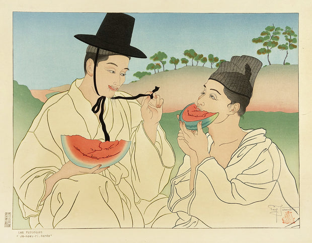 Les Pasteques, Jō-noku-ri, Corée (The Watermelons, Jō-noku-ri, Korea) by Paul Jacoulet - Davidson Galleries
