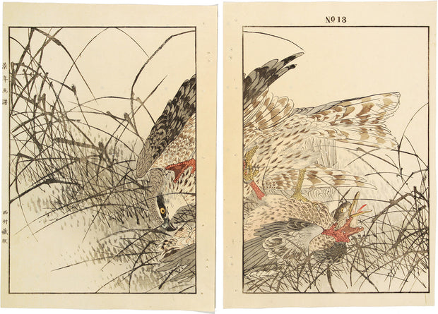 Goshawk Hunting (diptych) by Imao Keinen - Davidson Galleries