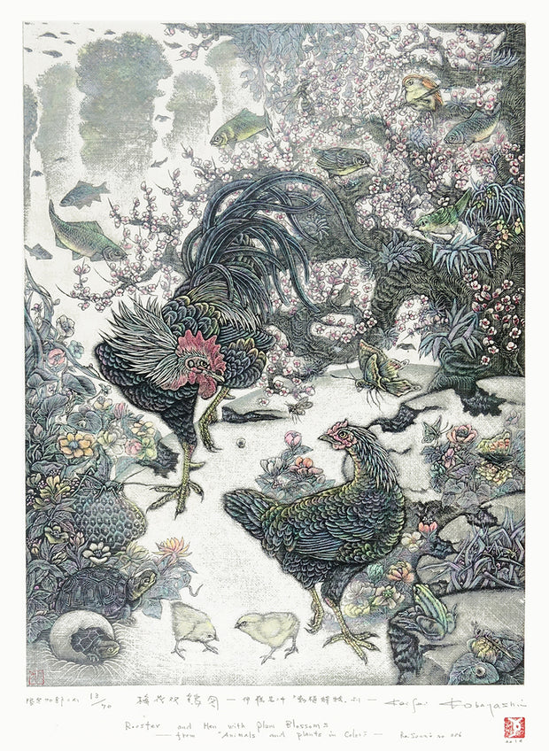Rooster and Hen with Plum Blossoms by Keisei Kobayashi - Davidson Galleries