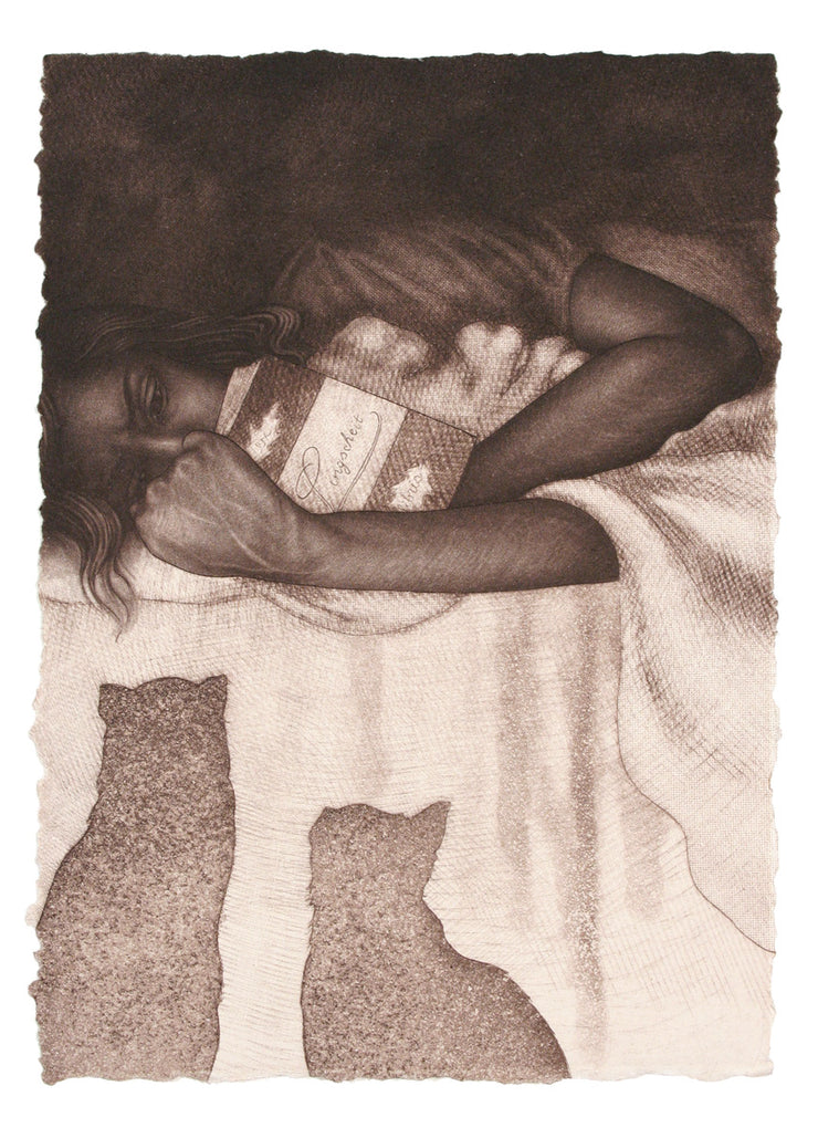 Ex Libris Reading with Two Cats by Carrie Lingscheit - Davidson Galleries